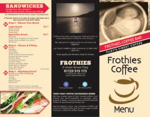 Frothies menu 1