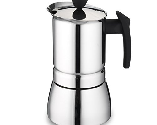 Cafe Ole 9 Cup Italian Style Stainless Steel Espresso Coffee Maker 360ml, Silver