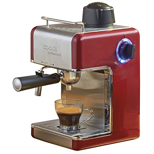 Coffee Machine Espresso Cappuccino Latte Dispenser with Milk Frother, 3.5 Traditional Italian Bar Barista Style, 800 Watts by Cook Professional (Red)