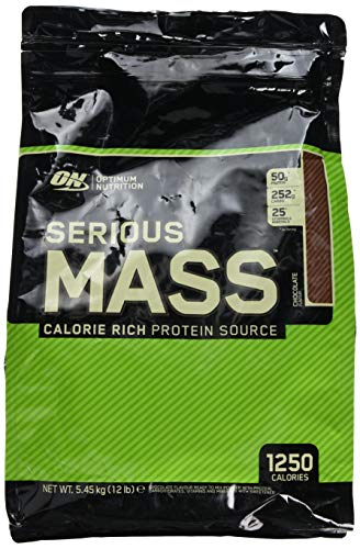 Optimum Nutrition Serious Mass Whey Protein Powder with Vitamins, Creatine and Glutamine. Protein Shakes by ON – Chocolate, 16 Servings, 5.45 kg