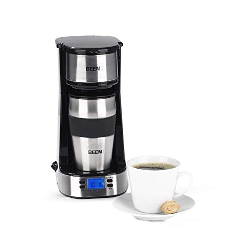 BEEM Germany 08211 Single Coffee Machine 1510SR, 750 W, Permanent Filter, 24 h Timer, Stainless Steel