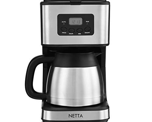 Netta 1.0 Litre Filter Coffee Machine with Insulated Jug, 8 Cup Programmable Coffee Makers, Clock/Timer Coffee Percolator, Anti-Drip System, Permanent Reusable Filter, Black/Brushed Steel