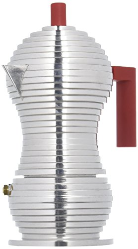 "Alessi"" Pulcina Espresso Coffee Maker in cast Aluminium. Handle and knob in PA, red"