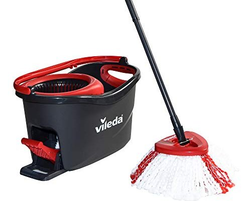 Vileda Turbo Microfibre Mop and Bucket Set, Plastic, Grey/Red, 48.5 x 27.5 x 28 cm