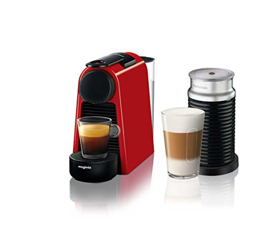Nespresso Essenza Mini Coffee Machine with Aeroccino, Ruby Red by Magimix
