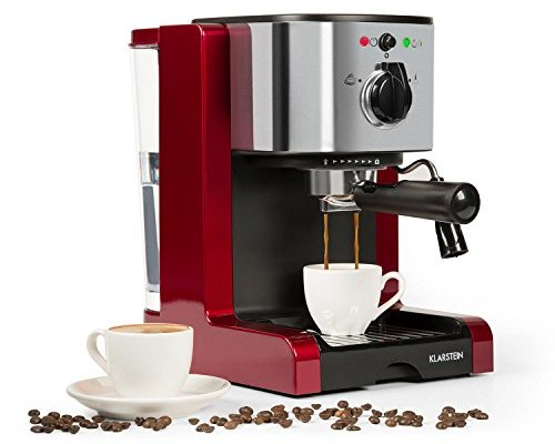 Klarstein Passionata Rossa 15 Espresso Machine – 15 Bar, Capuccino, Milk Foam, 1470W, Stylish Design for Modern Kitchens, Steam Nozzle for Frothing Milk and Preparing Hot Drinks, Red