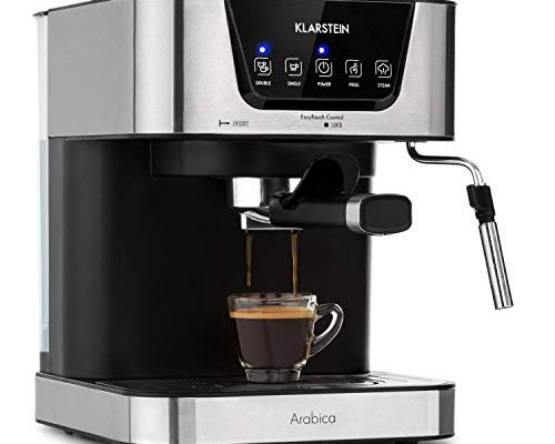 Klarstein Arabica Espresso Machine – Power: 1050 Watts, 15 Bar, 1.5-Litre Water Tank, LED Digital Display, Washable Drip Tray, Movable Frothing Nozzle, Removable Water Tank, Stainless Steel