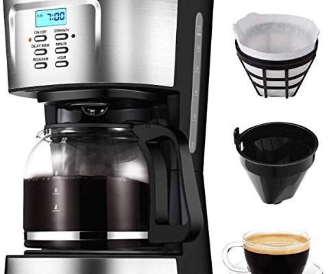 """Filter Coffee Machine, IKICH 12 Cup Coffee Maker, 24h Programmable Smart Drip Coffee Brewer with""""5+3"""" Unique Function Design, Glass Thermal Carafe, Permanent Filter and Stainless Steel Decoration"""