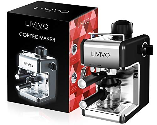LIVIVO Professional Espresso Cappuccino Coffee Maker Machine with Milk Frothing Arm for Home and Office (Black)