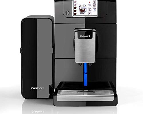 Cuisinart EM1000U Veloce Fully Bean to Cup Coffee Machine, Automatic Milk, Compact, Black, Built in Grinder, 1550 W