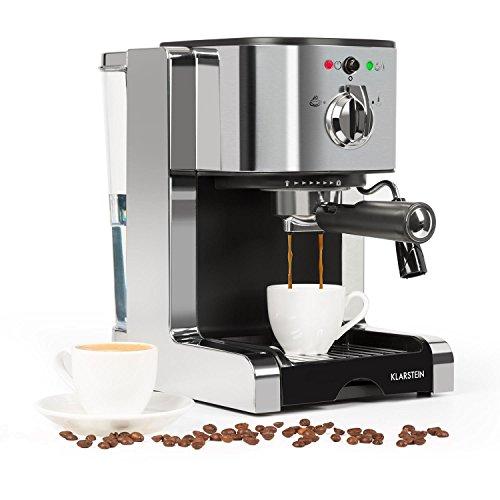 Klarstein Passionata 20 Espresso Machine – 20 Bar, Capuccino, Milk Foam, 1350W, Stylish Design for Modern Kitchens, Steam Nozzle for Frothing Milk and Preparing Hot Drinks, Silver