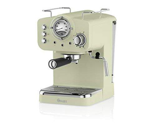 Swan SK22110GN, Retro Pump Espresso Coffee Machine, 15 Bars of Pressure, Green