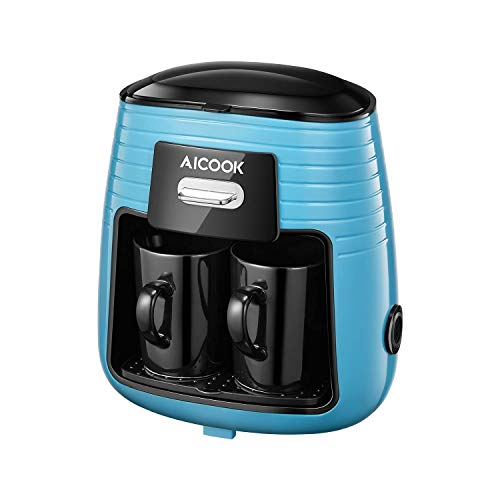 Aicook Filter Coffee Machine, One-Touch Mini Coffee Maker with 2 Ceramic Cups, 90s Fast Brewing Drip Coffee Machine, Reusable Filter for Coffee and Tea Brewing, Anti-Drip and Keep Warm Function, Blue