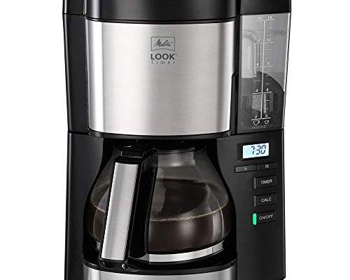 Melitta Filter Coffee Machine, Look V Timer Model, Art. No. 6766591, Stainless Steel, Black