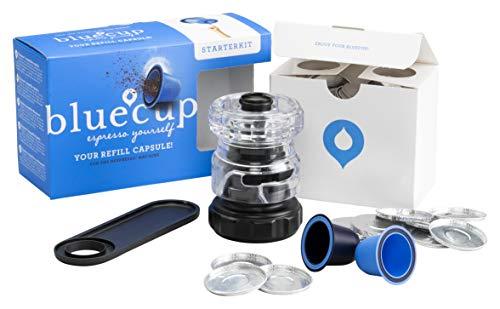 Bluecup – Reusable Capsule For Nespresso Coffee Machine – Refillable Nespresso Capsule – Cup Creator, 2x Coffee Capsule, 100x Aluminum Lids