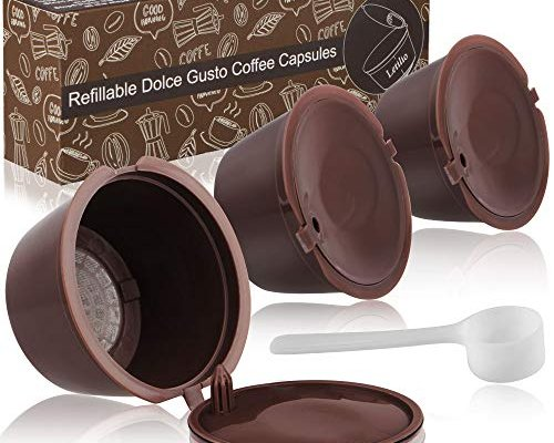 Dolce Gusto Coffee Reusable Refillable Pods 3 pcs, Dolce Gusto Machines Coffee Pod Compatible Filter Cups BPA Free Coffee Pods for Dolce Gusto with 1 Plastic Spoon and 1 Cleaning Brush