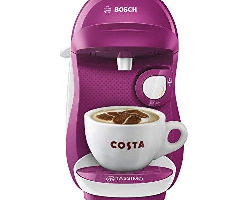 Tassimo Bosch TASSIMO Happy TAS1001GB Coffee Machine, 1300 Watt, 0.7 Litres – Purple & White