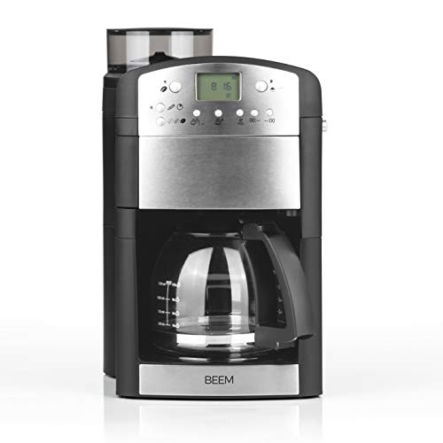 Beem Modell 2019 Germany Bean to Cup Filter Coffee Machine with Grinder and Timer 92C° 1000W Fresh-Aroma-Perfect-Glas, Stainless_Steel