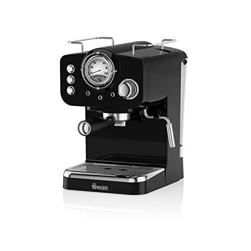 Swan Pump Espresso Coffee Machine, 15 Bars of Pressure, Milk Frother, 1.2L Tank, SK22110BN, Retro Black