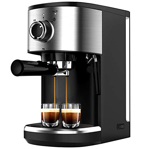 Bonsenkitchen Espresso Machine 15 Bar Coffee Machine with Foaming Milk Wand, 1450W High Performance 1.25 L Removable Water Tank Coffee Maker for Espresso, Cappuccino, Latte, Machiato