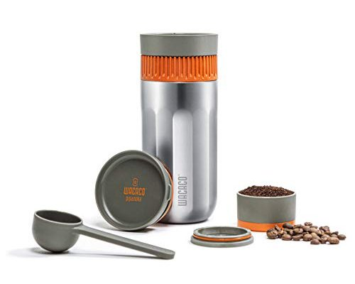 WACACO Pipamoka Portable Coffee Maker, Mini Travel Coffee Machine, Insulated Travel Mug, All-in-one Vacuum Pressured, Manual Coffee Brewer, Quick Extraction, Stainless Steel Thermo Cup, 10 fl oz