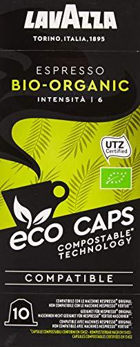 Lavazza 100 Eco Caps Coffee Pods compatible with Nespresso Original* machines, Espresso Bio Organic, Compostable – 10 Pack of 10 (530 g), 1.09 kg