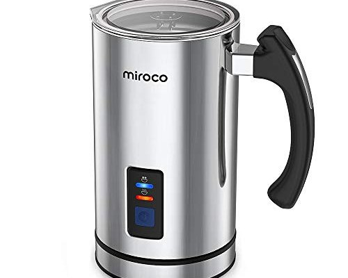 Milk Frother, Miroco Electric Milk Steamer Liquid Heater with Hot & Cold Milk Functionality (Strix Temperature Controls, Extra Whisks Silent Operation)