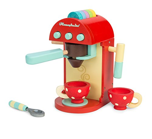 Le Toy Van – Honeybake Wooden Cafe Machine Set Pretend Kitchen Play Toy Set | Kids Role Play Toy Kitchen Accessories