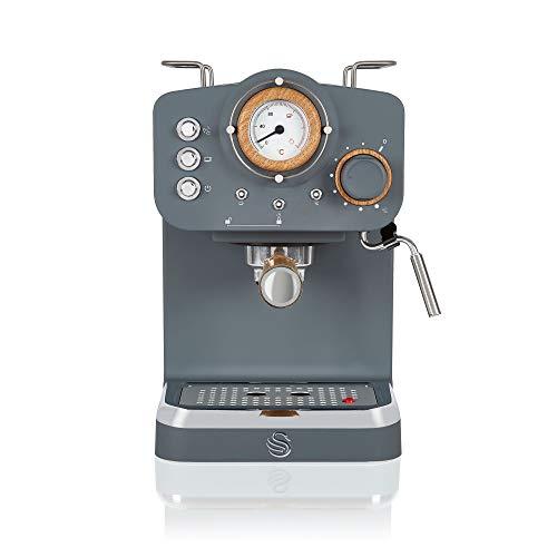 Swan Espresso Machine, 15 Bars of Pressure, Milk Frother, 1.2L Tank, Scandi Style, SK22110GRYN, Nordic Grey