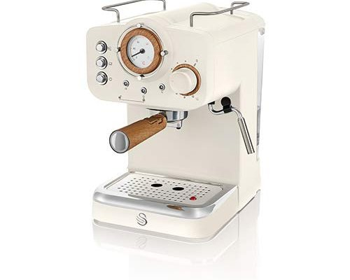 Swan Espresso Machine, 15 bar Pressure, Milk frother, 1.2L Tank, Scandi Style, SK22110WHTN, Cotton White