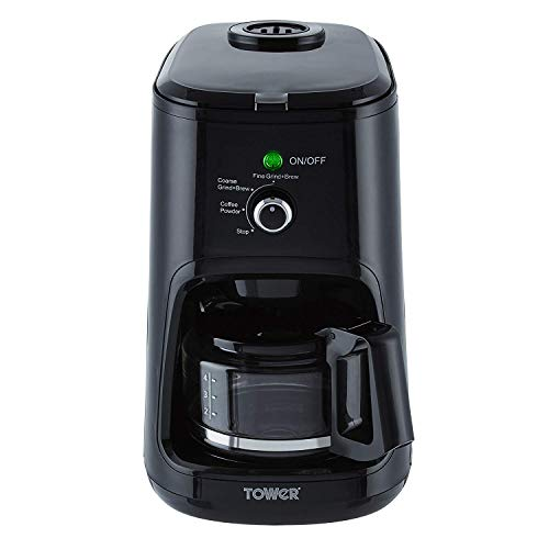 Tower Bean to Cup Filter Coffee Maker with Coarse and Fine Grinding Options, 0.6 Litre, 900 W, Black