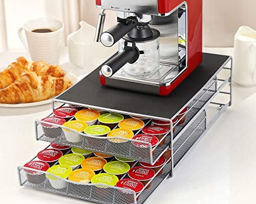 2 Tier Coffee Machine Stand & 72 Capsule Pod Holder Storage Drawer for Nespresso & Dolce Gusto Capsules