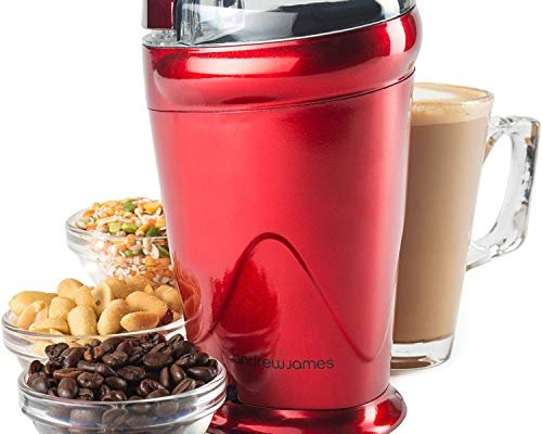 Andrew James Electric Coffee Grinder for Beans Spices Nuts 150W Machine Stainless Steel Blades & Transparent Lid | 70g | Red
