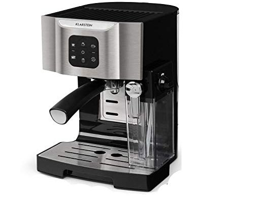 Klarstein BellaVita Coffee Machine – 3-in-1 Function for Espresso, Cappuccino and Latte Macchiato, 0.4 l Milk frother, 1450 watts, 20 bar, 1.4 l Water Tank, Self-Cleaning System, Gray