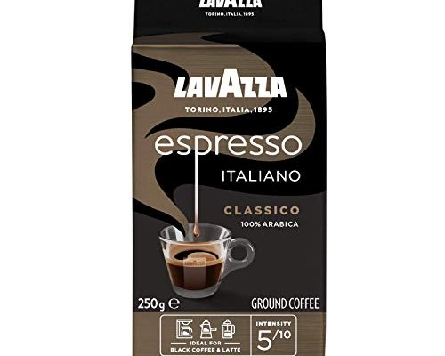 Lavazza Caffe Espresso, 100% Arabica Medium Roast Ground Coffee, 250 g, (Pack of 6)