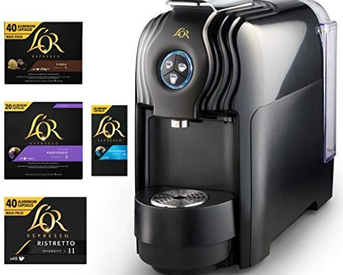 L'OR Lucente Pro Espresso Coffee Machine Bundle – 300 Nespresso(R) Compatible Aluminium Coffee Capsules + Free Professional Capsule Machine