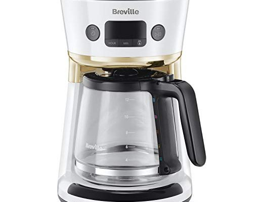 Breville Mostra Easy Measure Filter Coffee Machine   12 Cup Programmable Coffee Maker   1.8L Jug   Built-In Water Filter   Freshness Indicator   Delay Timer   White & Gold   VCF116
