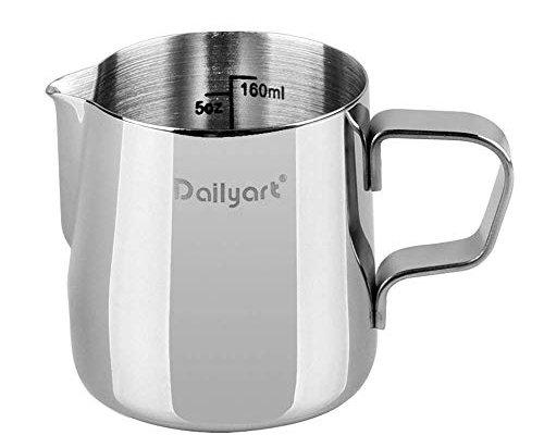 Dailyart Small Milk Jugs 200ml/350ml/600ml/900ml (6.5oz/12oz/20oz/32oz) Milk Jug Stainless Steel Coffee Milk Frother Jug Milk Pitcher Cup for Making Coffee Cappuccino Frothing Milk Coffee Machine