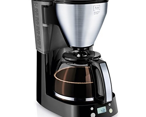 Melitta Easy Top Timer 1010-15, filter coffee machine with glass jug, programmable warming time, black stainless steel