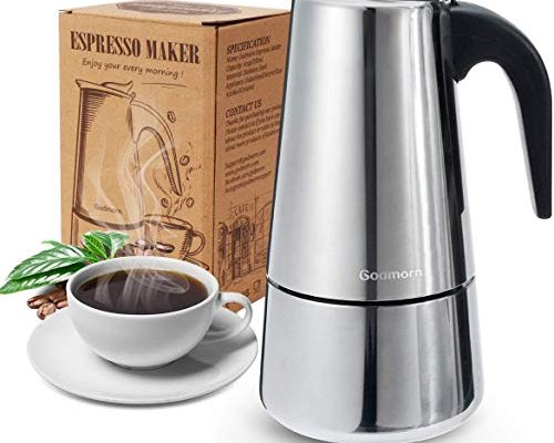 Godmorn Stovetop Espresso Maker, Italian Coffee Maker Moka Pot, 200ml/4 Cup (Espresso Cup=50ml), 430 Stainless Steel Classic Cafe Maker, Suitable for Induction Cookers