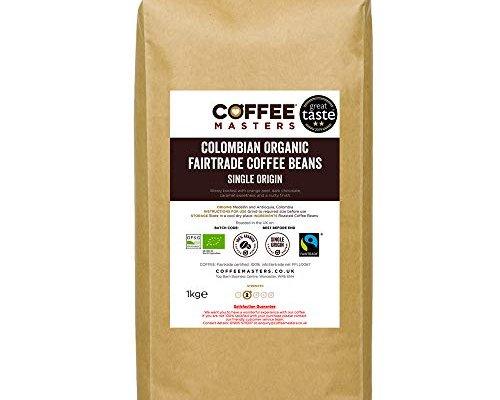 Coffee Masters Colombian Organic Coffee Beans 1kg – Fairtrade Single Origin 100% Arabica Coffee Beans – Light Roasted Whole Coffee Beans Ideal for Espresso Machines – Great Taste Award Winner 2019